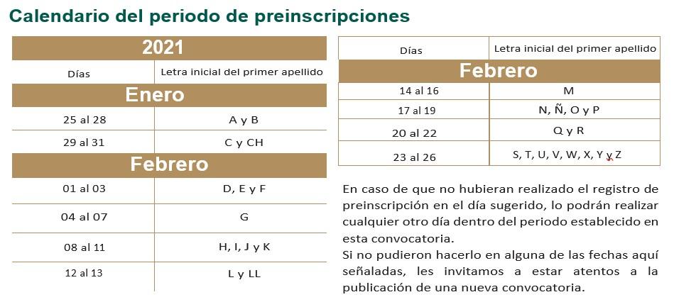 Calendario de preinscripcion